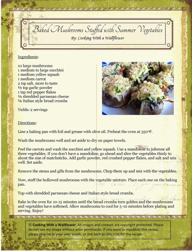 Baked Mushrooms Stuffed with Summer Vegetables | Cooking with a Wallflower
