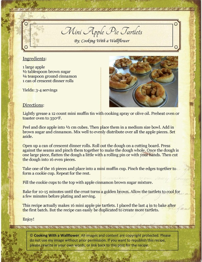 Mini Apple Pie Tartlets Recipe Card