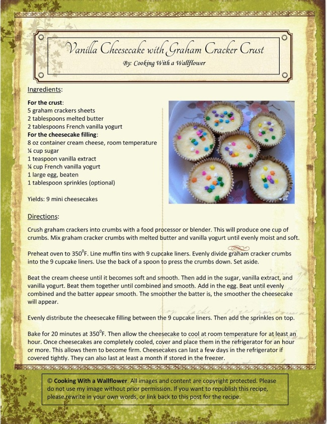 Vanilla Cheesecake with Sprinkles on Graham Cracker Crust Recipe