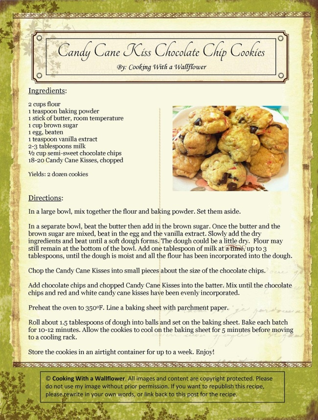 Candy Cane Kiss Chocolate Chip Cookies   Cooking with a Wallflower