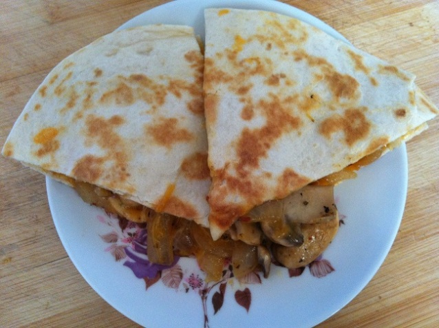 Sautéed Mushrooms, Onions, and Melted Cheese Quesadilla | Cooking with a Wallflower