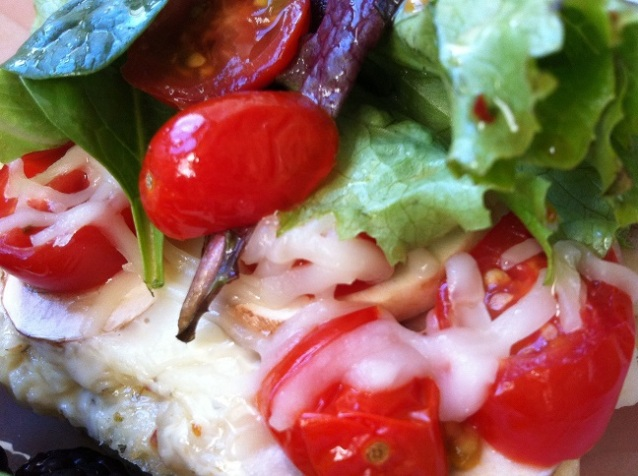 Spring Salad, Mushrooms, and Grape Tomato Pizza with a Spicy White Garlic Sauce | Cooking with a Wallflower
