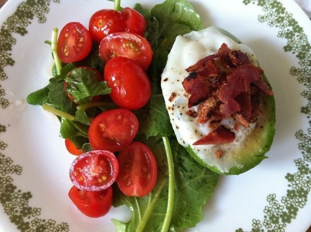 Egg in an Avocado Topped with Turkey Bacon | Cooking with a Wallflower