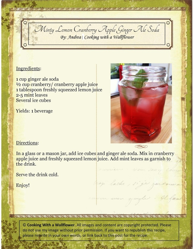Minty Lemon Cranberry Apple Ginger Ale Soda   Cooking with a Wallflower