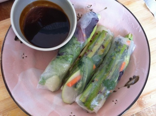 Roasted Asparagus Spring Rolls with Hoisin Sauce | Cooking with a Wallflower
