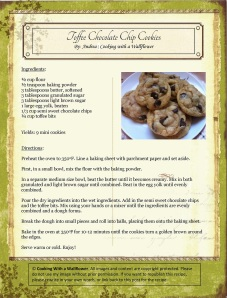 Toffee Chocolate Chip Cookies Recipe Card | Cooking with a Wallflower