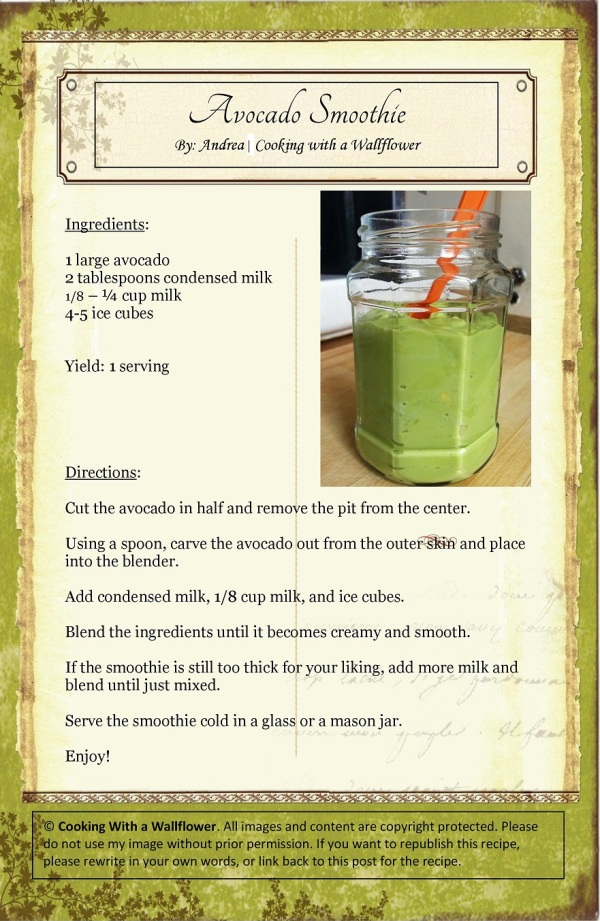 Avocado Smoothie   Cooking with a Wallflower