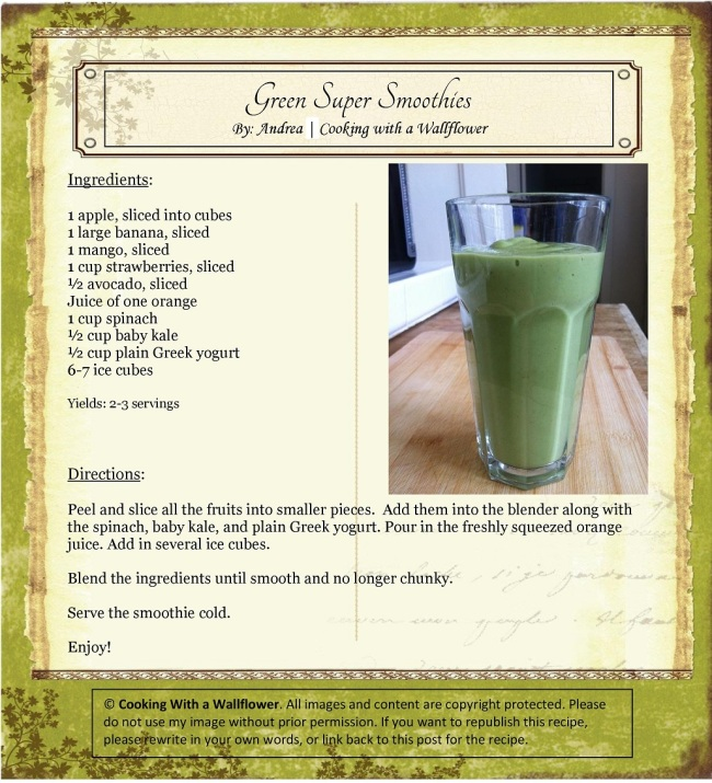 Green Super Smoothie | Cooking with a Wallflower