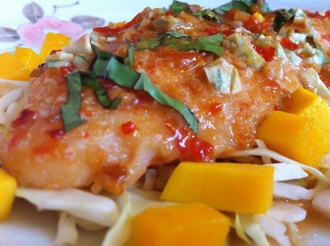 Garlic asian glazed swai fillet with fresh mango cooking for Is it safe to eat swai fish