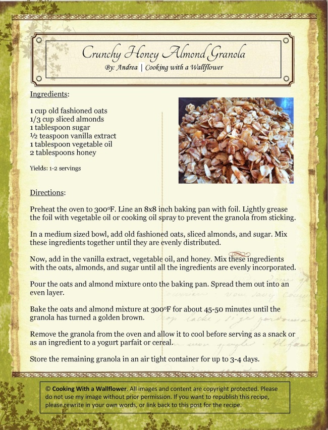 Crunchy Honey Almond Granola | Cooking with a Wallflower