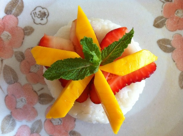Strawberry Mango Coconut Sticky Rice | Cooking with a Wallflower