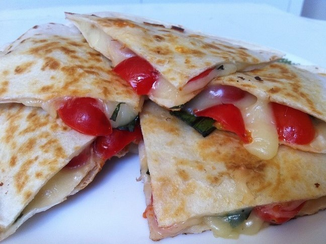 Cheesy Tomato Basil Quesadilla | Cooking with a Wallflower