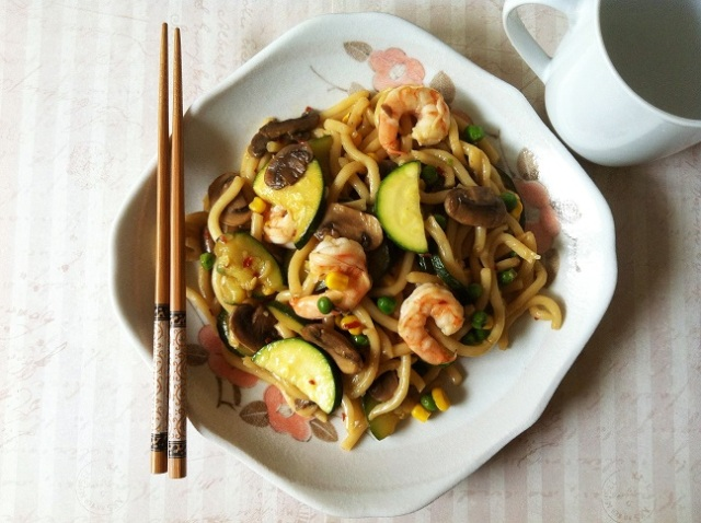 Shrimp and Vegetable Teriyaki Udon | Cooking with a Wallflower