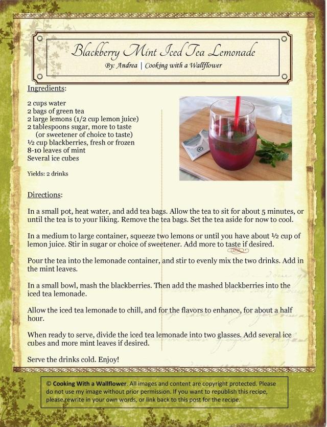 Blackberry Mint Iced Tea Lemonade Recipe Card