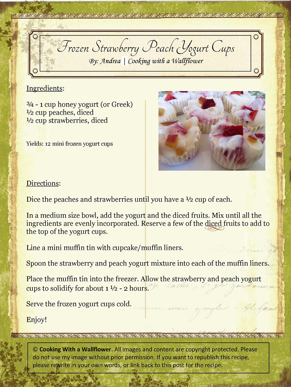 Frozen Strawberry and Peach Yogurt Cups Recipe Card