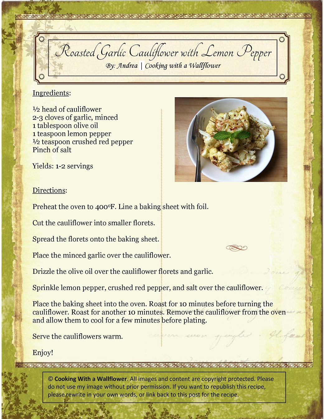 Roasted Garlic Cauliflower with Lemon Pepper Recipe Card