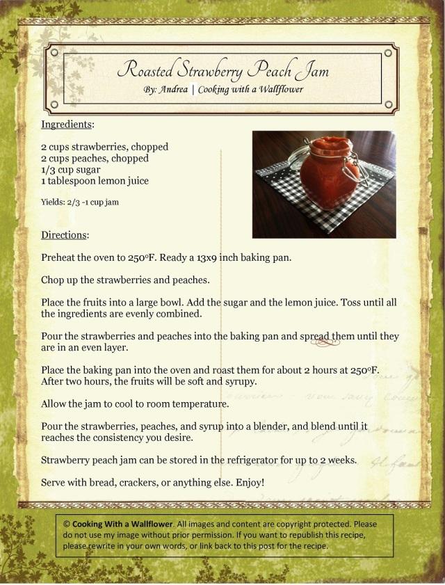 Roasted Strawberry Peach Jam Recipe Card