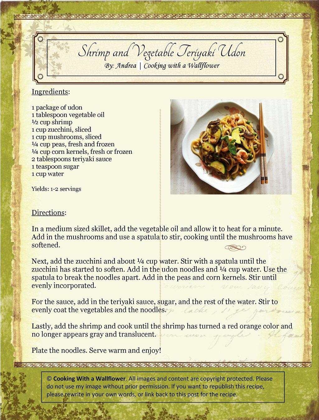 Shrimp and Vegetable Teriyaki Udon Recipe Card