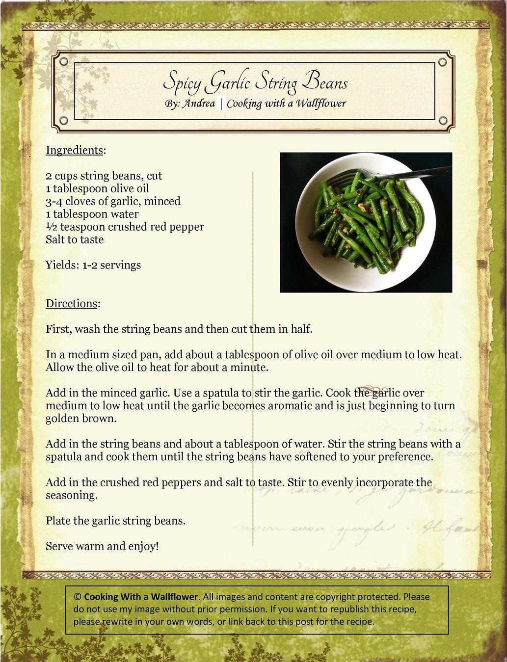Spicy Garlic String Beans Recipe Card