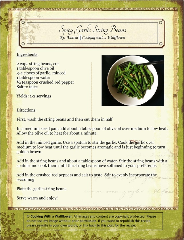 Spicy Garlic String Beans Recipe Card