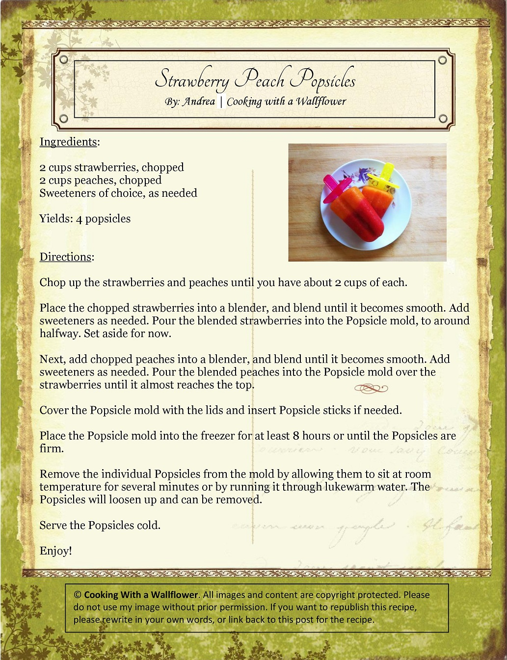 Strawberry Peach Popsicles Recipe Card