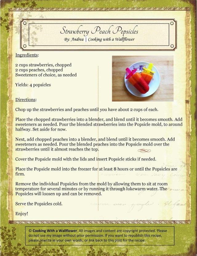 Strawberry Peach Popsicles Recipe Card