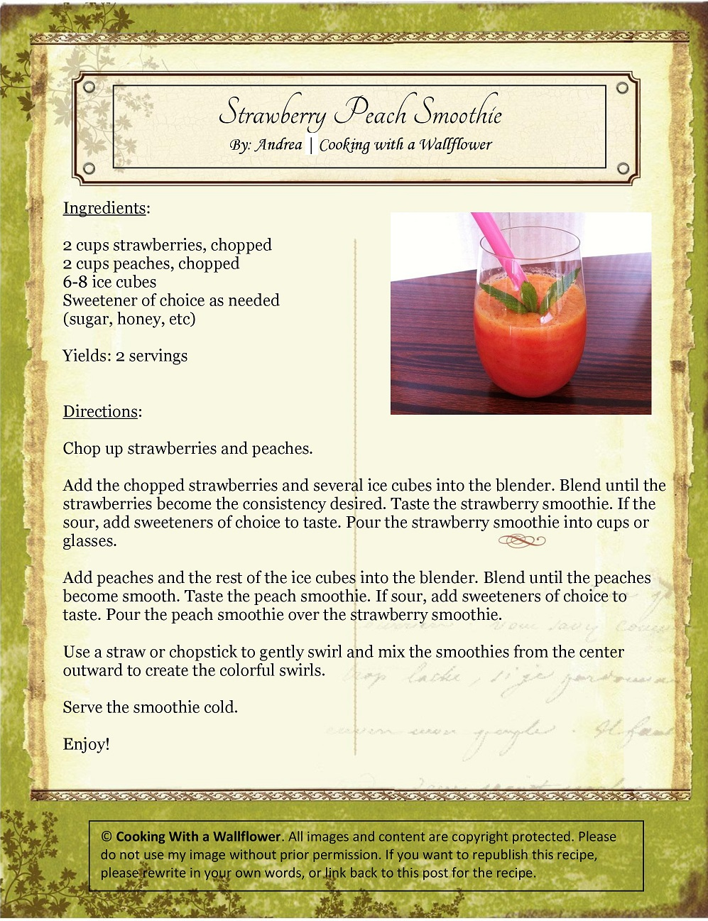 Strawberry Peach Smoothie Recipe Card