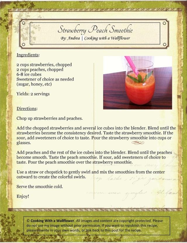 Strawberry Peach Smoothie Recipe Card