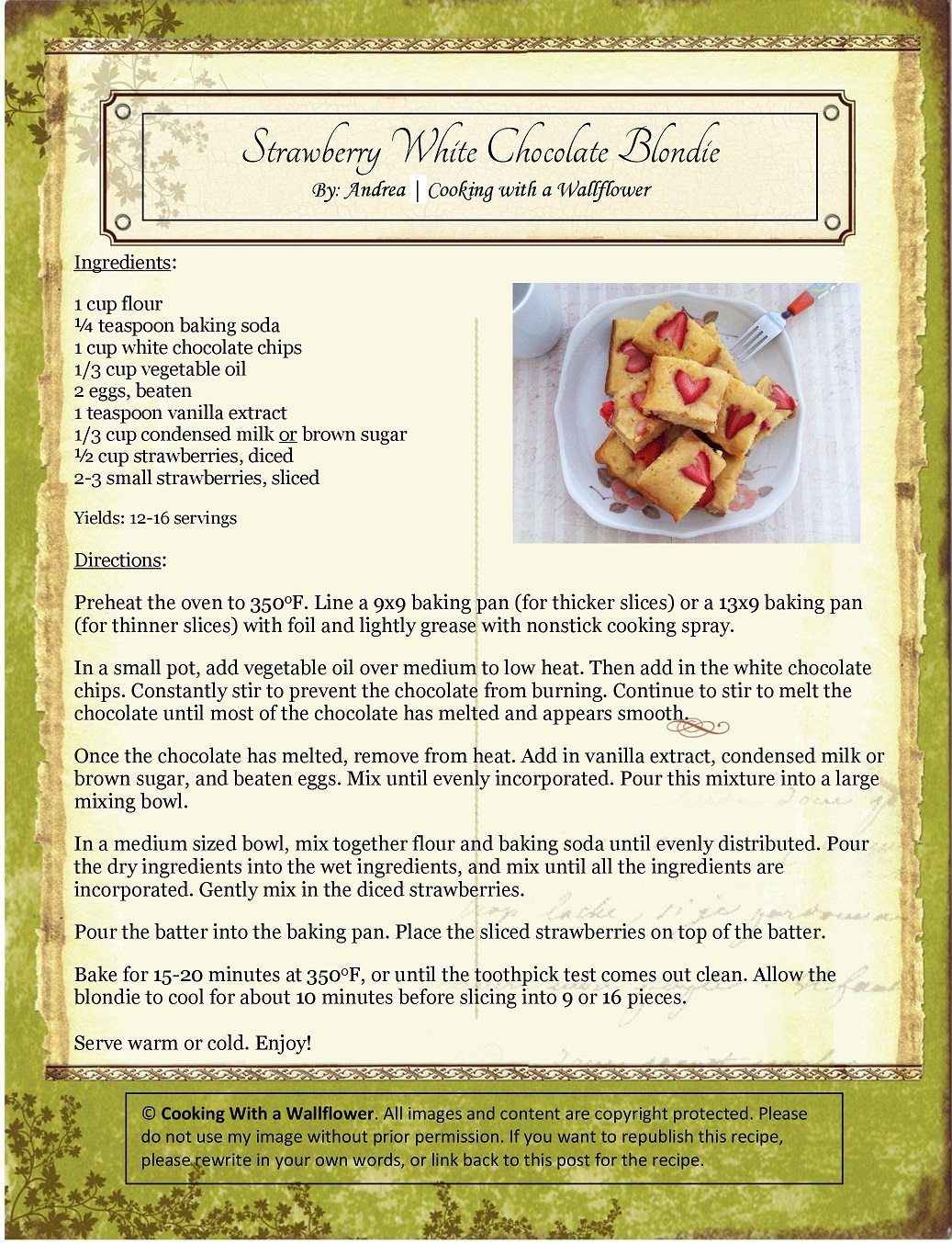 Strawberry White Chocolate Blondie Recipe Card