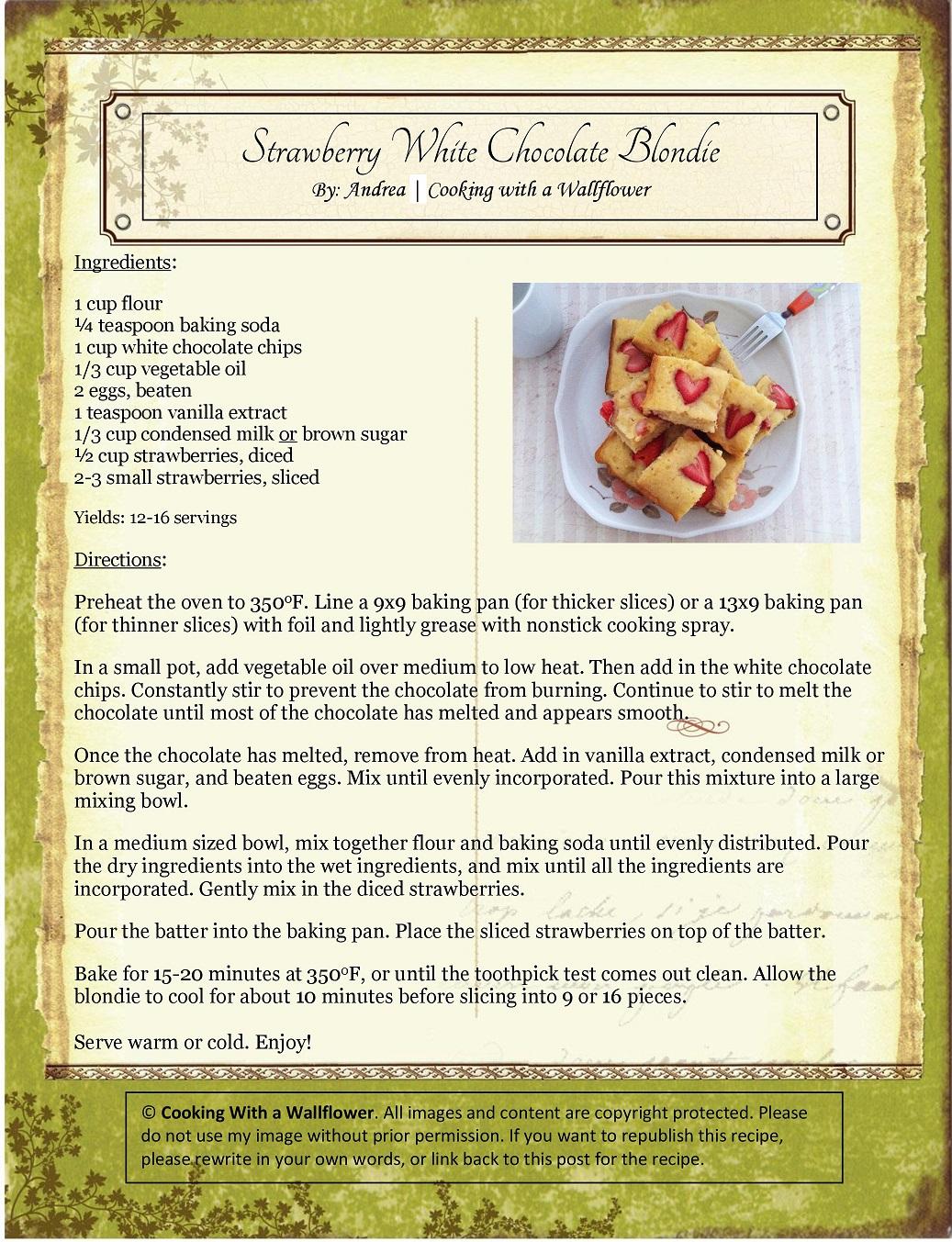 Strawberry White Chocolate Blondie Recipe Card