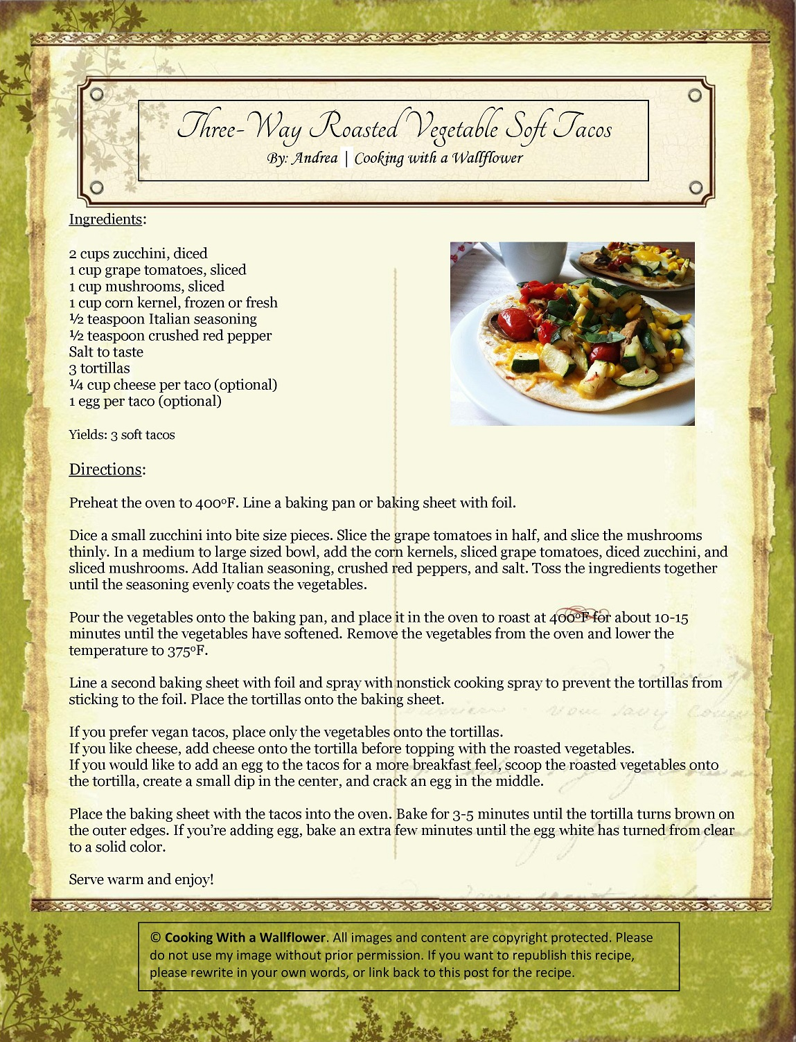 Three-Way Roasted Vegetable Soft Tacos Recipe Card